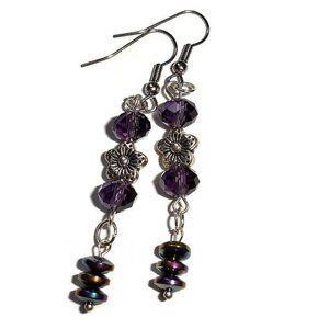 Flower earrings drop earrings purple crystal dangl